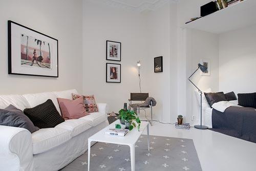 1 Slaapkamer Appartement : Driehoekige woonkamer van kamer appartement interieur inrichting