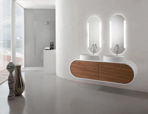 Dubbele wastafel in de badkamer