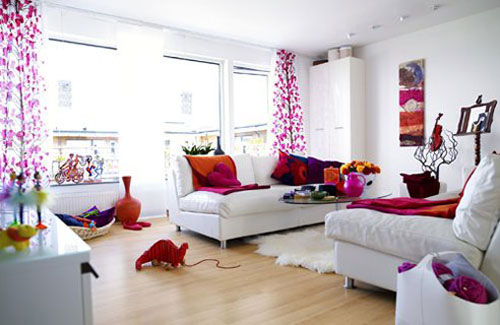 Feng shui woonkamer interieur inrichting Orange and red living room design