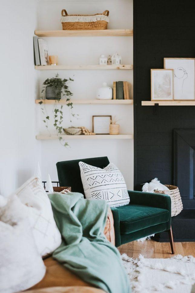 fluwelen smaragdgroene fauteuil