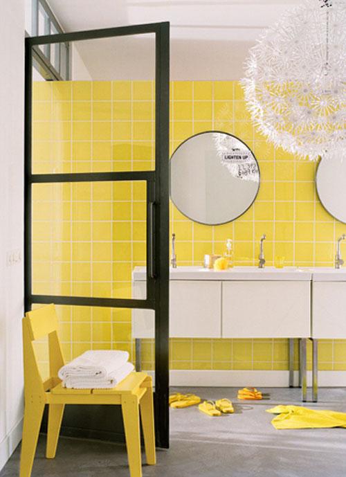 Gele muur slaapkamer : Gele muur Interieur inrichting