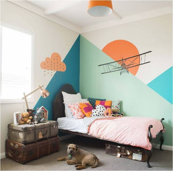 Use Childen S Room Wallpaper To Add Oodles Of Character: 15x Geometrische Vormen Aan De Muur