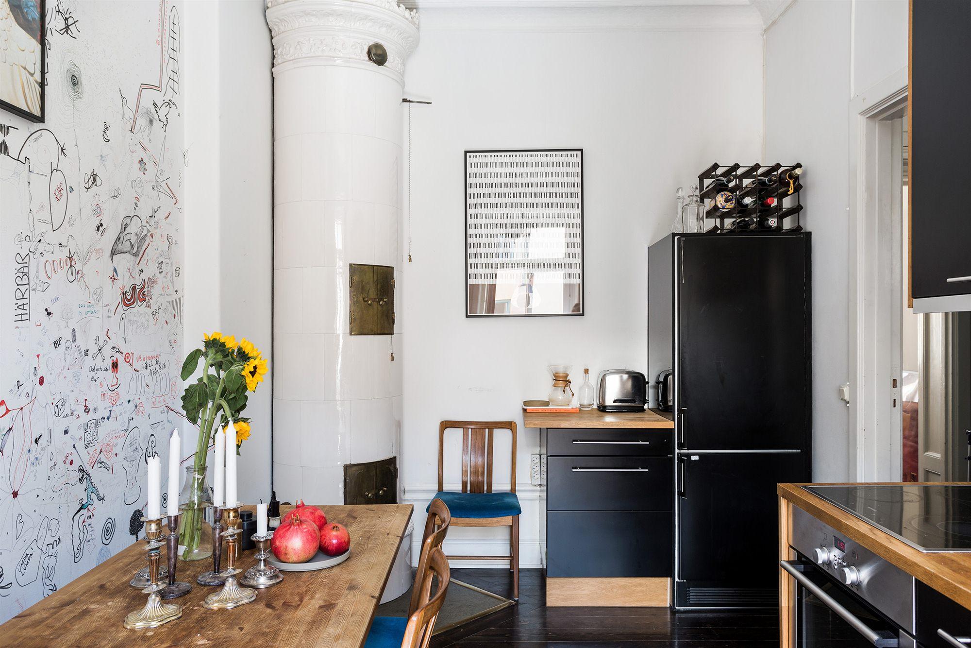 Gezellige woonkeuken in een klein appartement interieur inrichting