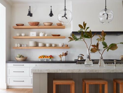 glazen hanglampen keuken