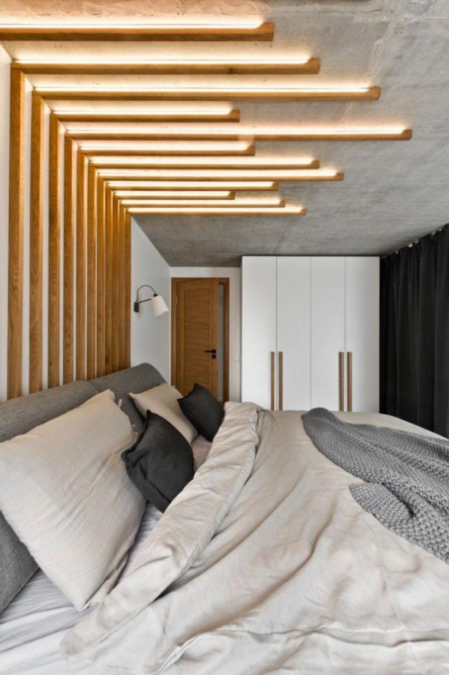 Glazen wand in slaapkamer biedt uitzicht op woonkamer interieur inrichting - Interieur slaapkamer ...