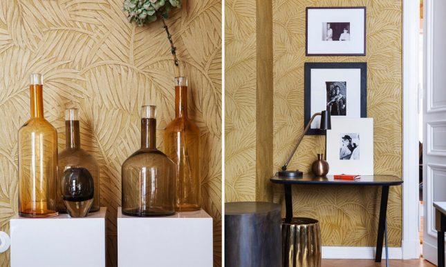 goud behang palmbladeren monsoon arte behang