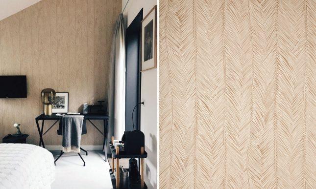 goud palmenbladeren behang slaapkamer