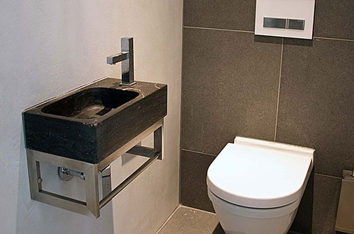 Zwart wit glasmozaïek parket wc vloeren tegels badkamer tegels