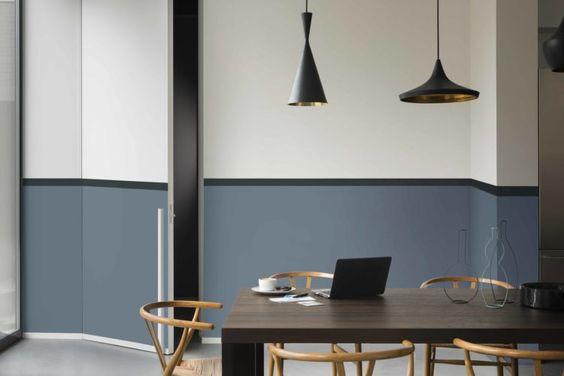 Denim drift grijs blauwe muurinterieur inrichting interieur
