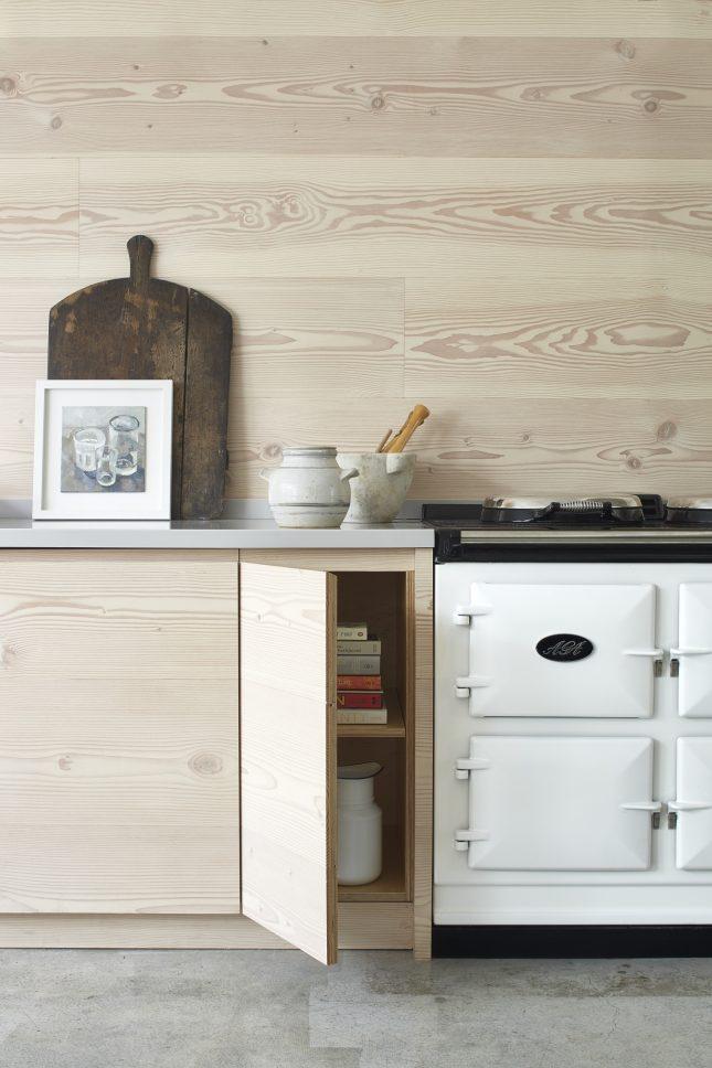 grijs corian keukenblad houten keuken