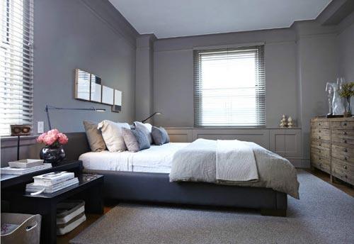 Grijze slaapkamer met schuifdeur interieur inrichting - Grijze slaapkamer ...