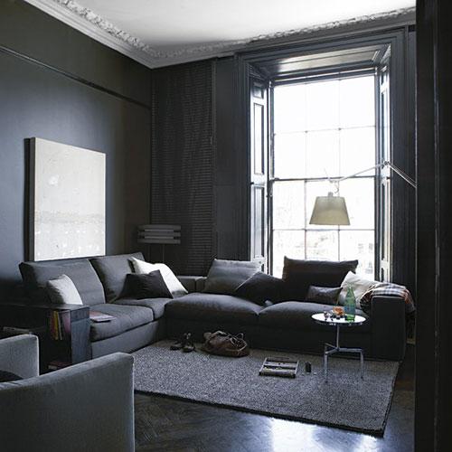 Grijze woonkamer in georgiaans herenhuis interieur inrichting - Interieur inrichting moderne woonkamer ...