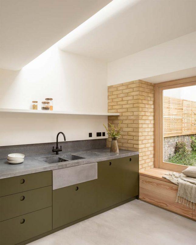 groene keuken betonnen aanrechtblad