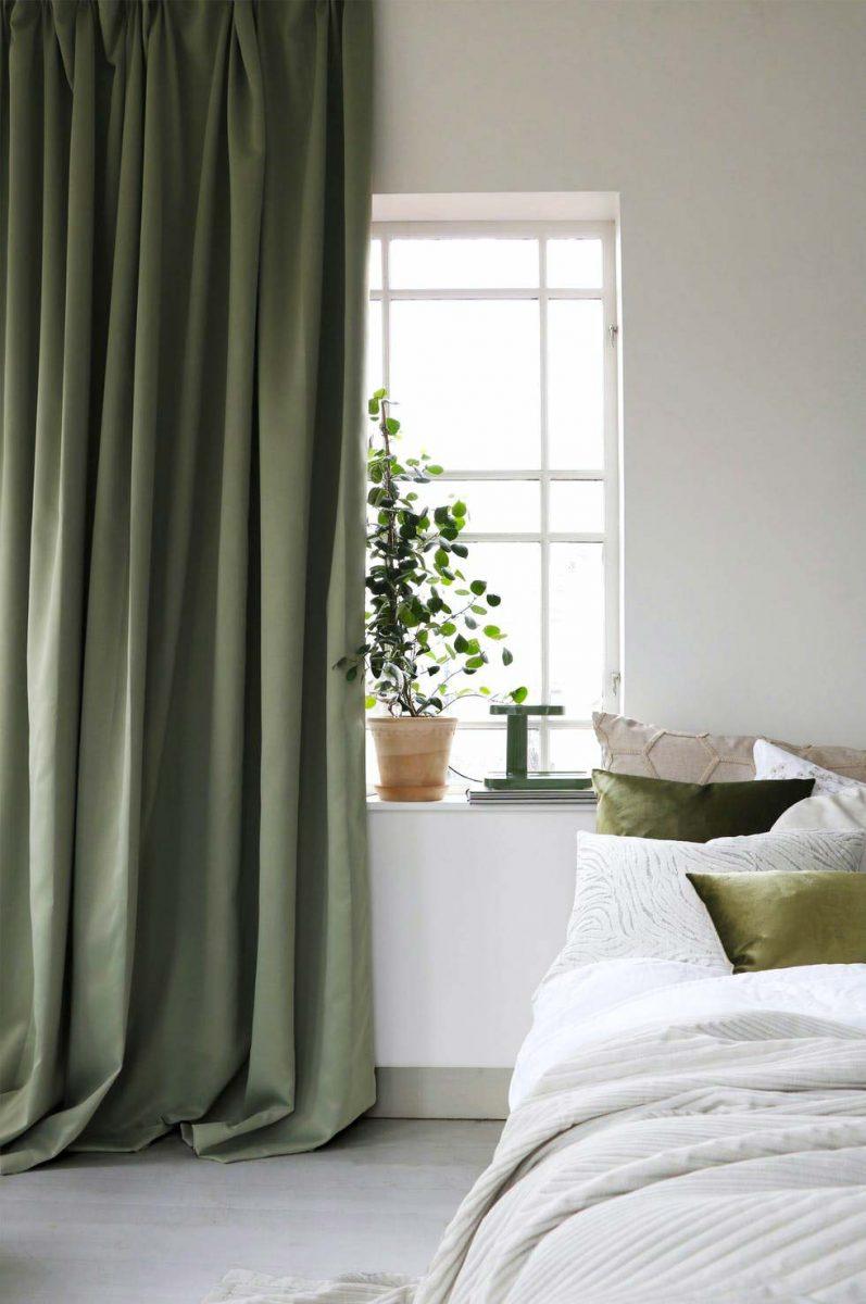 groene slaapkamer gordijnen