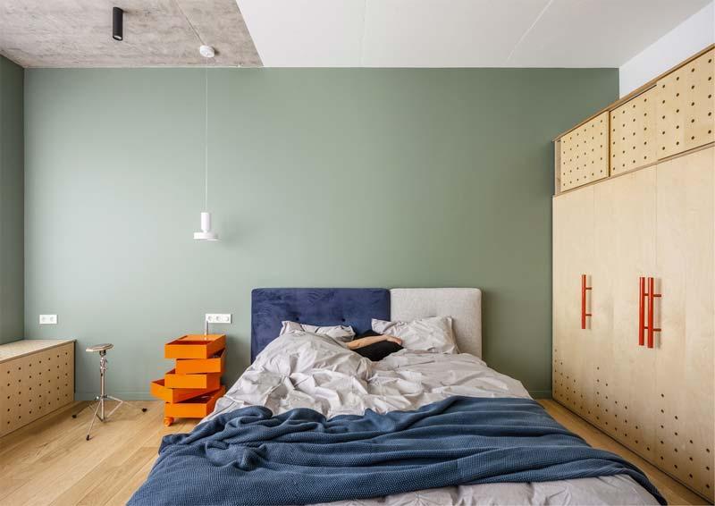 groene slaapkamer muur