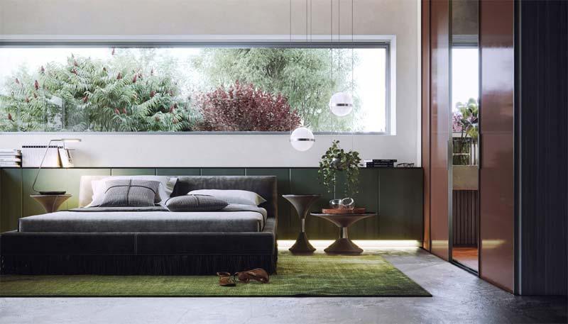 groene slaapkamer vloerkleed
