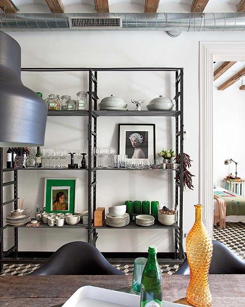 Keukenrekken : Grote houten woonkeuken in BarcelonaInterieur inrichting Interieur