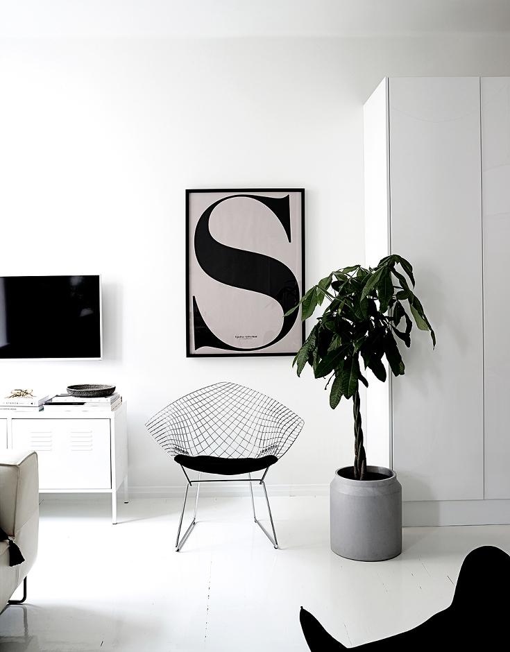 Mooie open Scandinavisch witte slaapkamer  Interieur inrichting