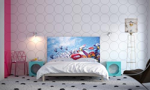 ... Hoofdeinde als decoratie kunst in de slaapkamer Interieur inrichting