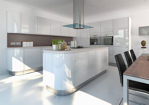 Hoogglans witte keuken door Kitchen CGI