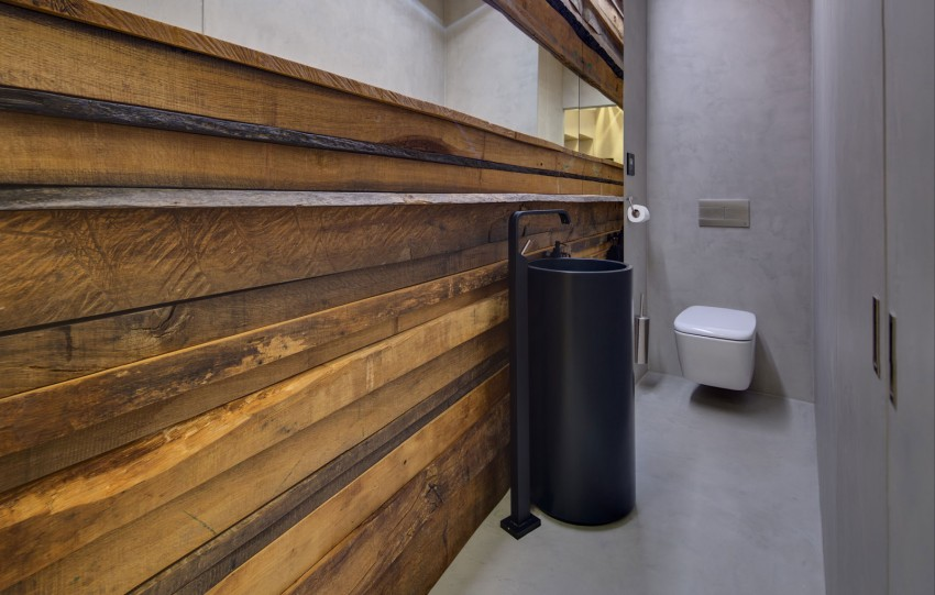 Toilet Interieur Ideeen : Hout en betonstuc in toilet interieur inrichting