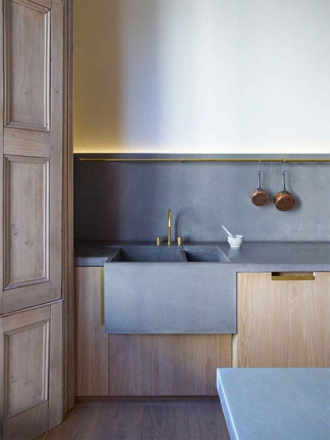 houten keuken betonnen aanrechtblad gootsteen