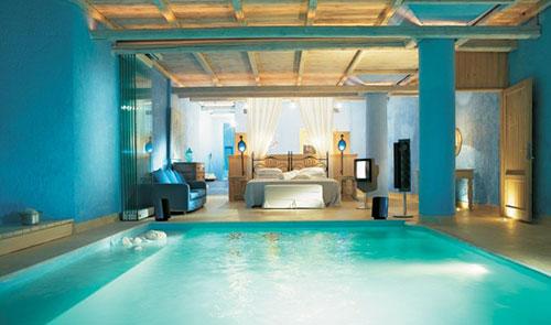 Huizen met zwembad interieur inrichting