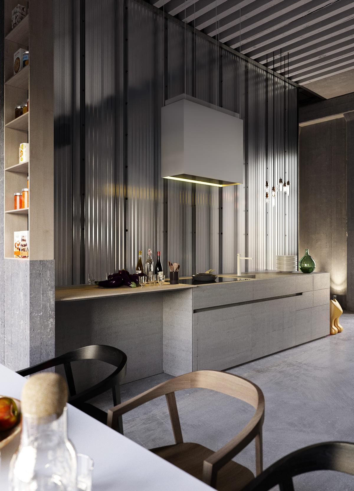 In dit loft appartement gaan luxe en industrieel samen