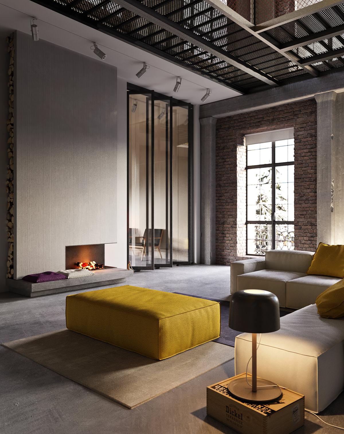 Interieur De Luxe Appartement in dit loft appartement gaan luxe en industrieel samen