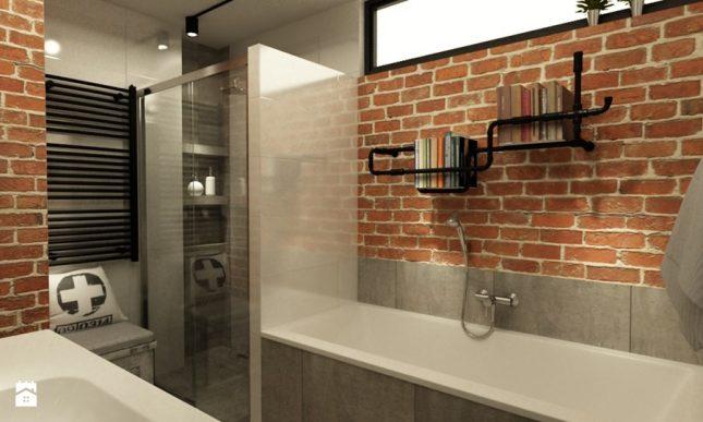 industriele badkamers voorbeelden bakstenen muur