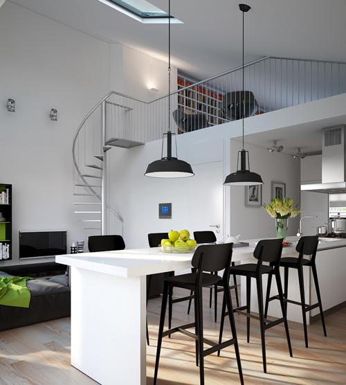 Industri le lampen in de keuken interieur inrichting - Moderne keukentafel ...
