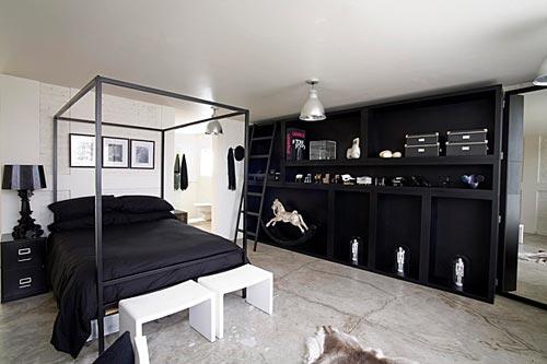 industrile slaapkamer zwart wit