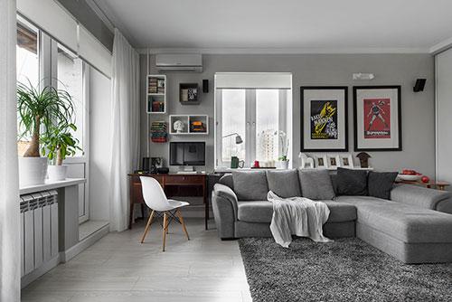 Grijze Woonkamer Ideeen : Interieur ideeën voor klein appartement ...