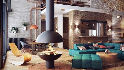 interieur-inrichten-hout-bakstenen-beton-minsk