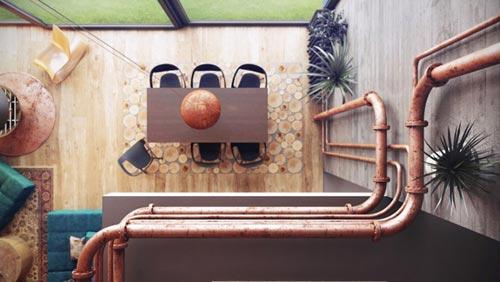 Interieur inrichten met hout, bakstenen en beton in Minsk   Interieur inrichting