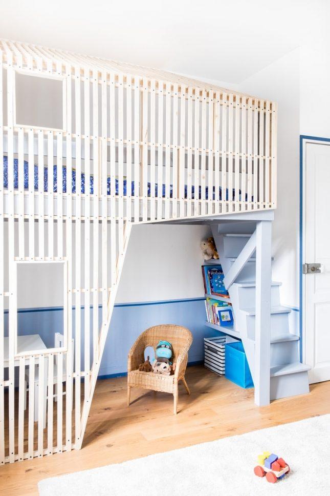 Jongenskamer met een modern hoogslaper huisje | Interieur inrichting