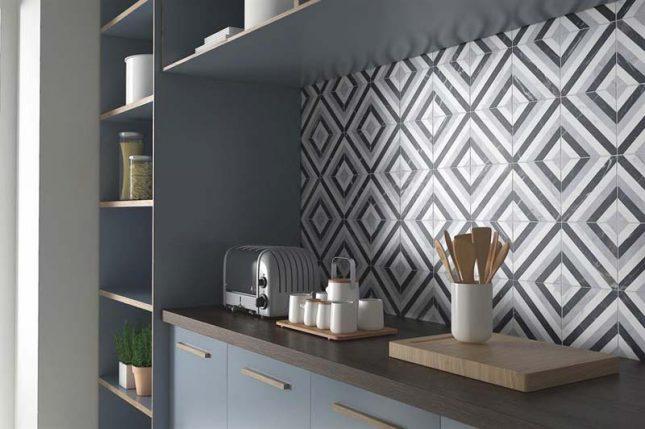 Keuken achterwand diamant patroontegels
