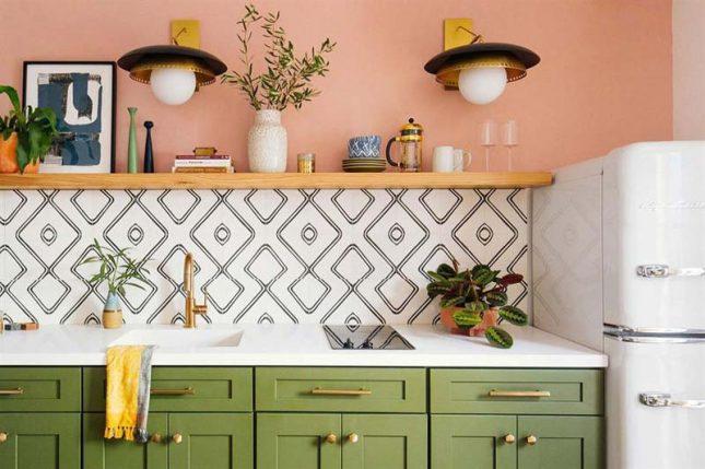 keuken achterwand zwart wit ruitpatroon tegels