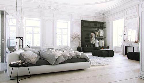 Klassieke slaapkamer met een moderne inrichting  Interieur inrichting