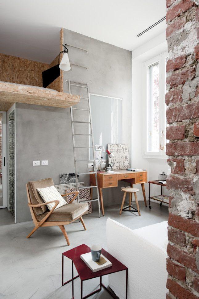 klein appartement van 30m2 met een stoer industrieel interieur