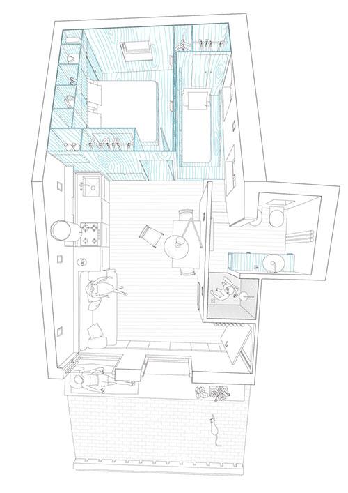 Klein appartement op zolderverdieping oud vissershuisje