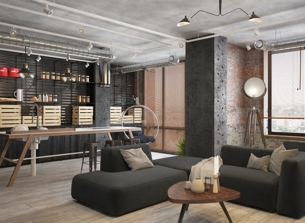 Kleine Keuken Industrieel : Klein industrieel loft appartement uit moskou interieur inrichting