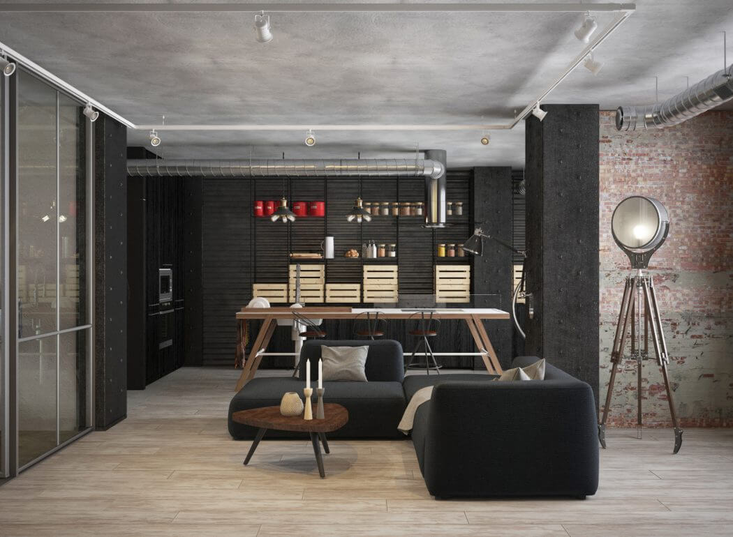 Klein industrieel loft appartement uit moskou interieur for Loft appartement