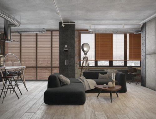 Klein industrieel loft appartement uit Moskou