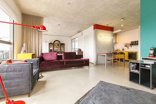 Klein industrieel loft appartement interieur inrichting - Klein interieur ruimte ...