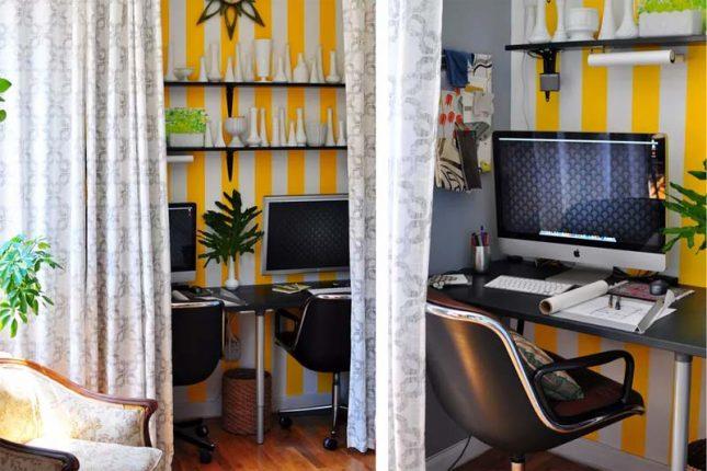 klein kantoor inrichten in huis gordijnen als deur