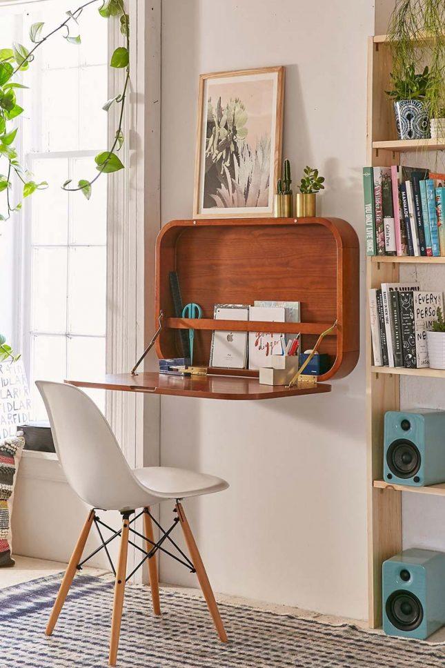 klein kantoor inrichten huis inklapbaar bureau