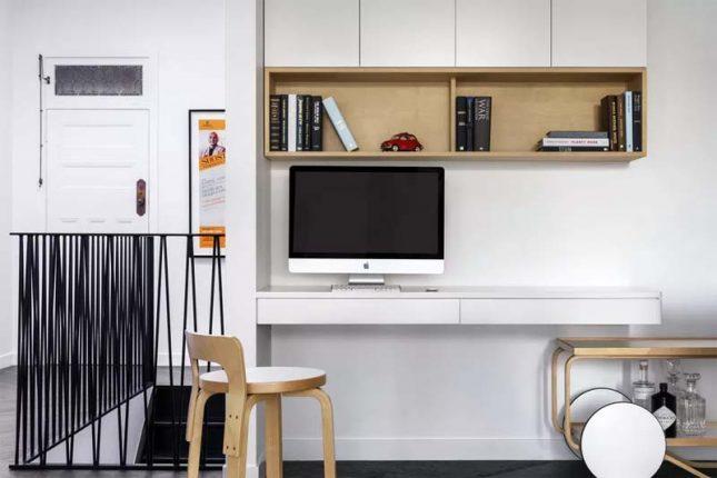 klein kantoor inrichten huis wandkast