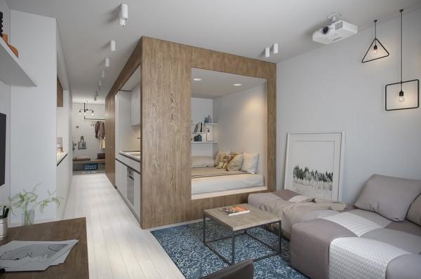 Klein studio appartement van 29m2 interieur inrichting - Studio indeling ...
