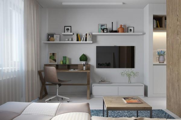 Klein studio appartement van 29m2 interieur inrichting - Deco muur corridor ...
